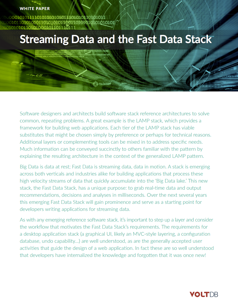 whitepaper: VoltDB Streaming Data and the Fast Data Stack