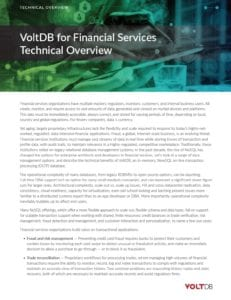 VoltDB for Financial Services Technical Overview