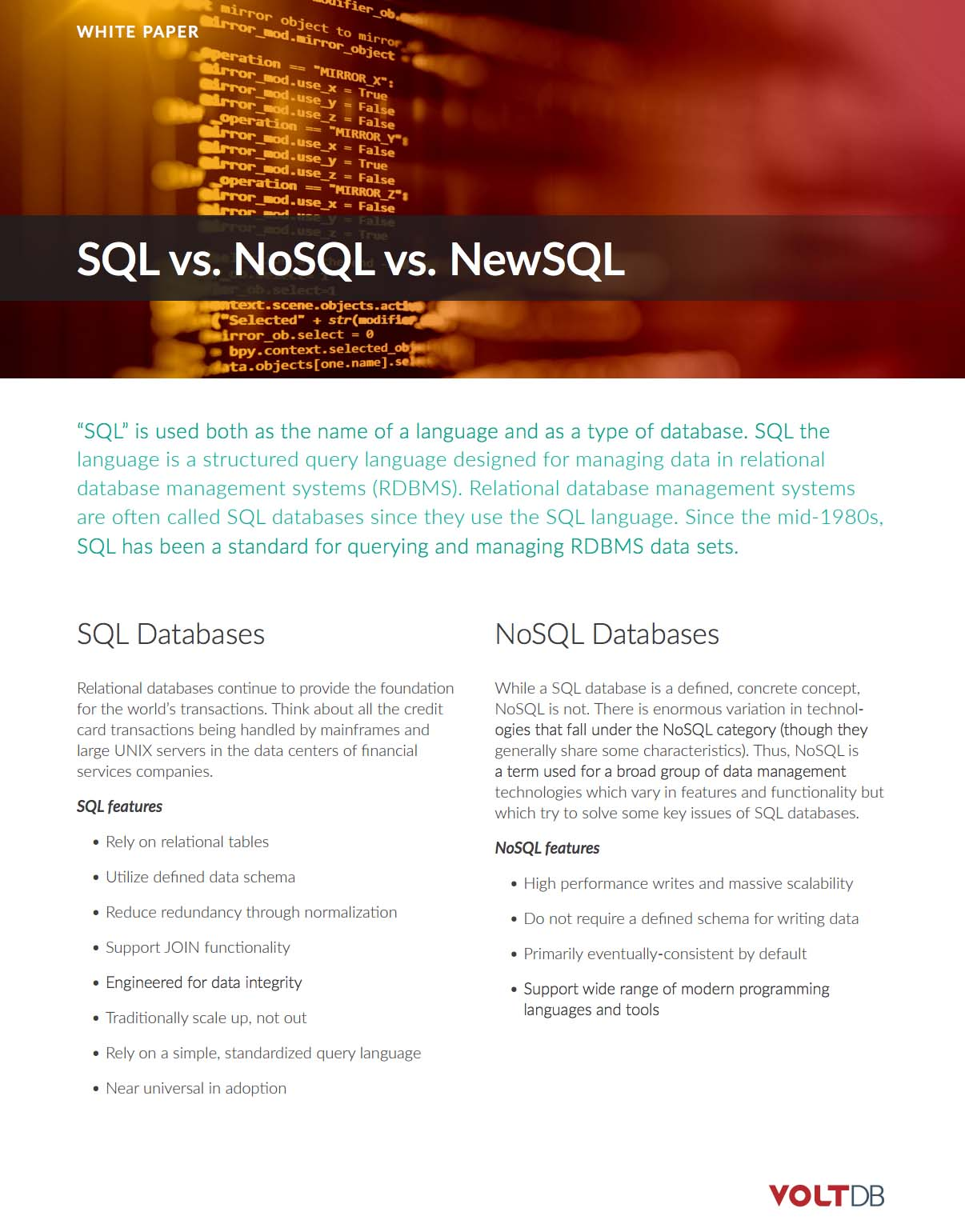 VoltDB Whitepaper: SQL vs NoSQL vs NewSQL