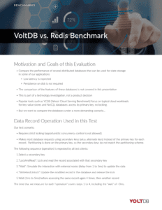 Benchmark Report: VoltDB vs Redis